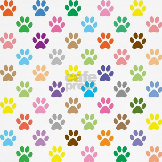 Colorful puppy paw print pattern