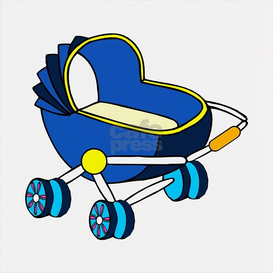 blue themed baby carriage graphic
