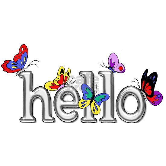 Bright Silver Hello with Colorful Butterflies