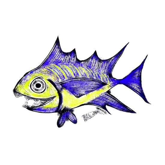 Retro Fish Tuna 2 White Background. Tuna Fish RCM