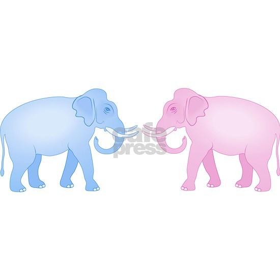 Cute Pink and Blue Elephants