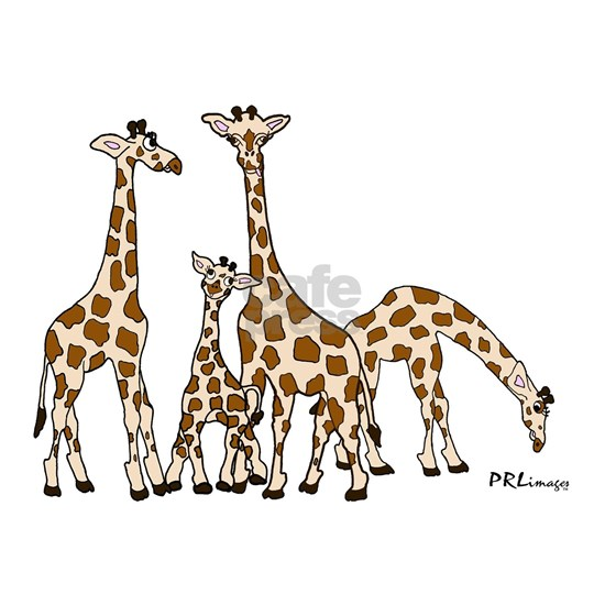 Giraffe Family Portrait in Browns and Beige