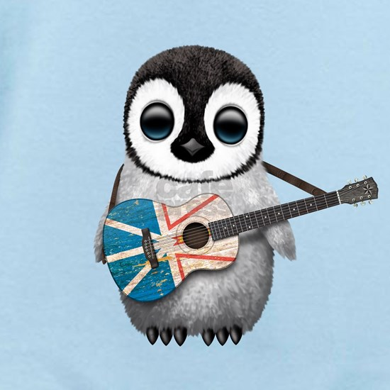 Baby Penguin Playing Newfoundland Flag Guitar