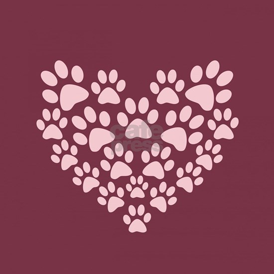 Maroon Heart with Paw Prints
