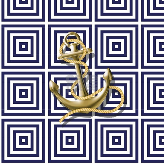 gold anchor blue geometric pattern