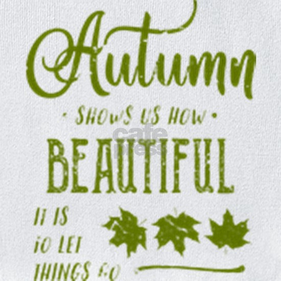 Distressed Autumn Quote design with Green Text and