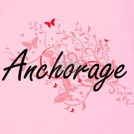 Anchorage Alaska City Artistic design with butterf