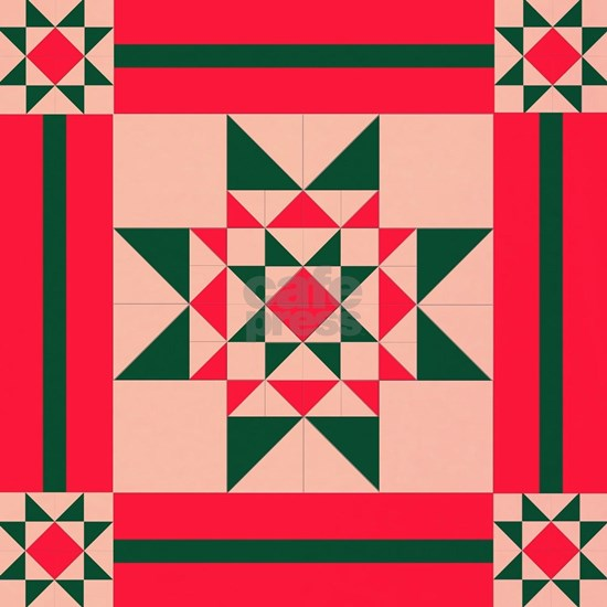 Christmas Star Quilt Block Red Green and Cream