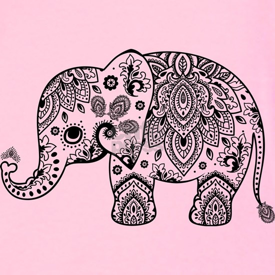 Black Floral Paisley Elephant Illustration