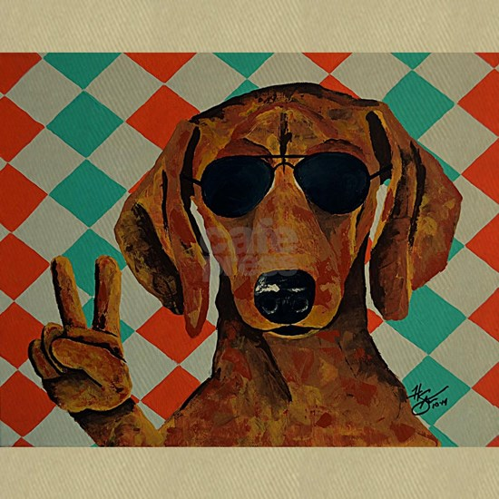 Dachshund Peace Sign