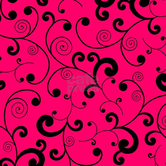 Elegant Hot Pink and Black Scroll Pattern
