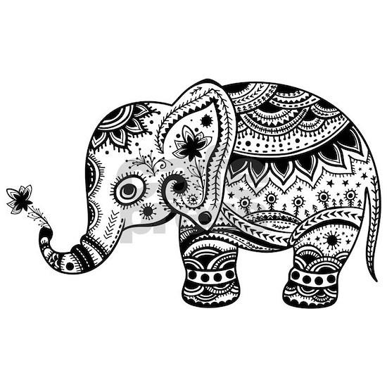 Cute Floral Elephant illustration In Black