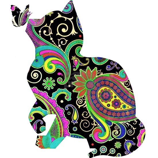 Paisley cat and butterfly