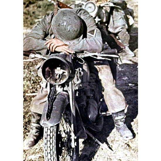 Exhausted German motorcyclist