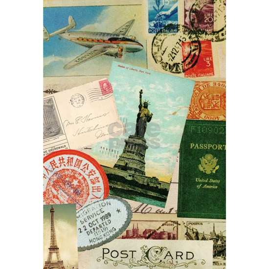 Vintage Passport travel collage