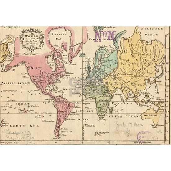 Vintage Map of The World (1760) 2