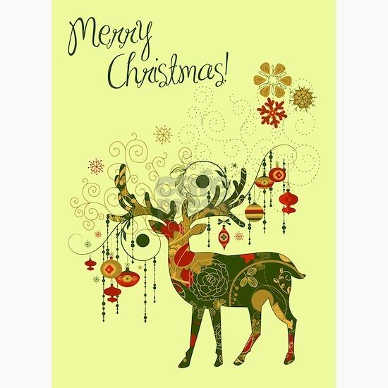 Reindeer Christmas Cards.Art Deco Christmas Card Pk Of 20 Greeting Cards Pk Of 10