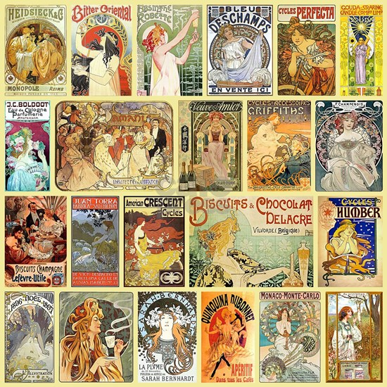 Art Nouveau Advertisements Collage