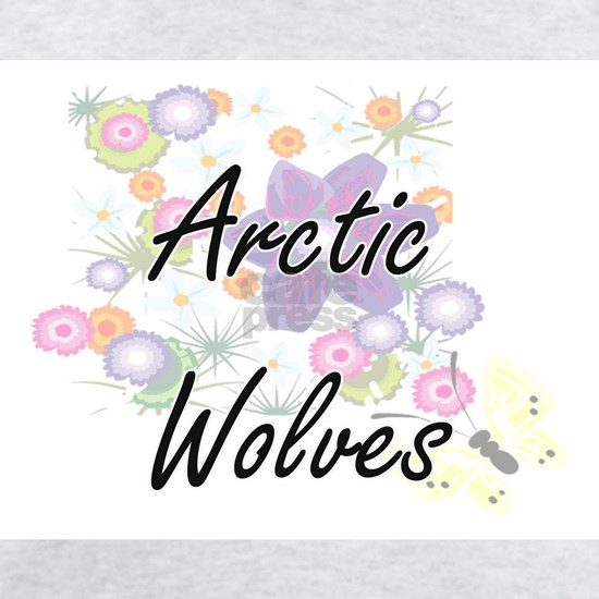 Arctic Wolves artistic design with flowers