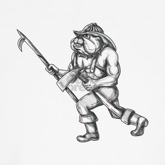 Bulldog Firefighter Pike Pole Fire Axe Tattoo Clas