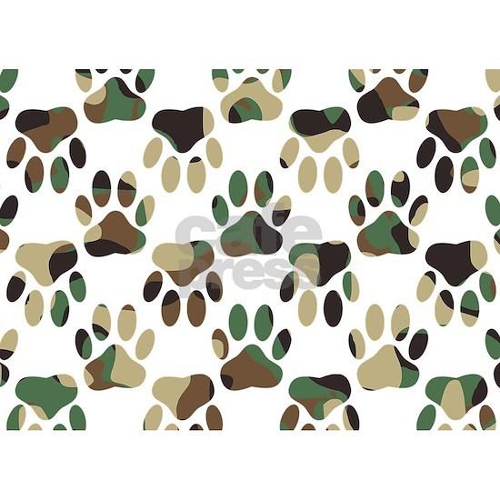 Camo Pattern Dog Paw Print 5 X7 Area