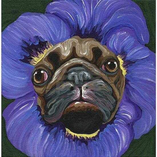 Pug Pansy Dog Art