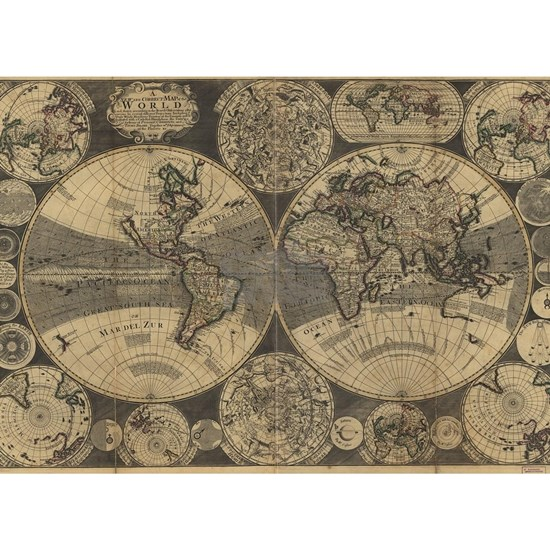 Vintage Map of The World (1702) 3