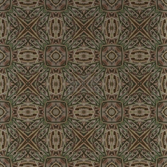 Green and Brown Fractal Flower Pattern