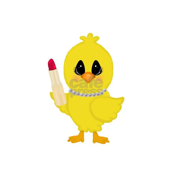 Easter Chick in Pearls with Lipstick