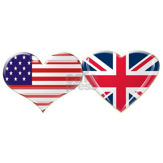 USA and UK Heart Flag