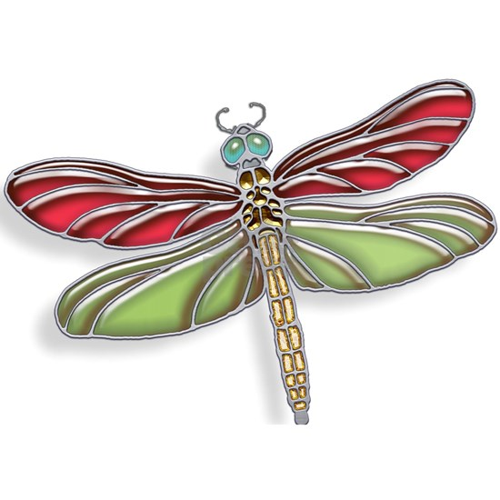 Green and Red Jeweled Stained Glass Dragonfly