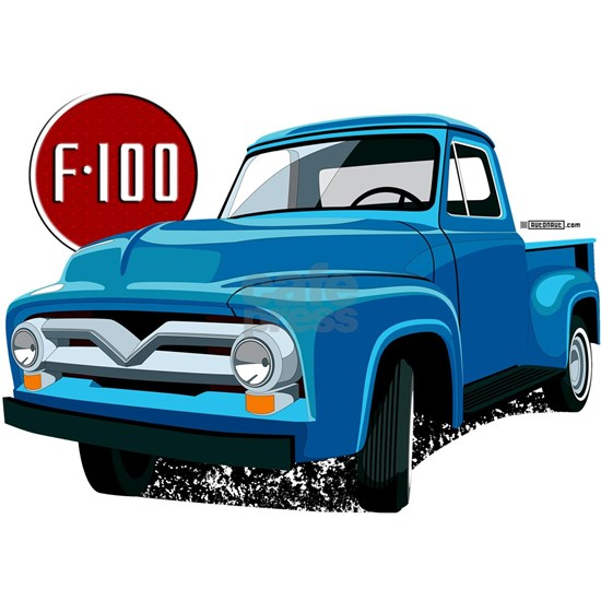 Illustration of a second generation blue Ford F-10