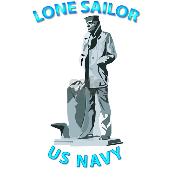 T-Shirt - Navy - Lone Sailor with Text