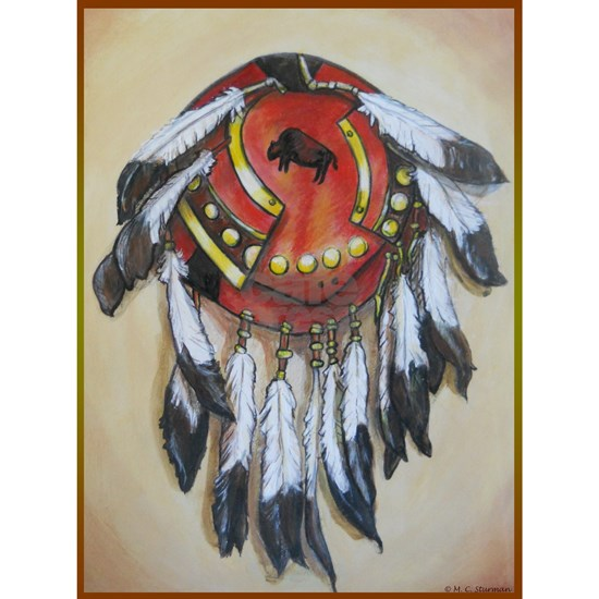 Native American Shield, Buffalo art