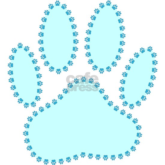 100% Dog Pawprint in Baby Blue