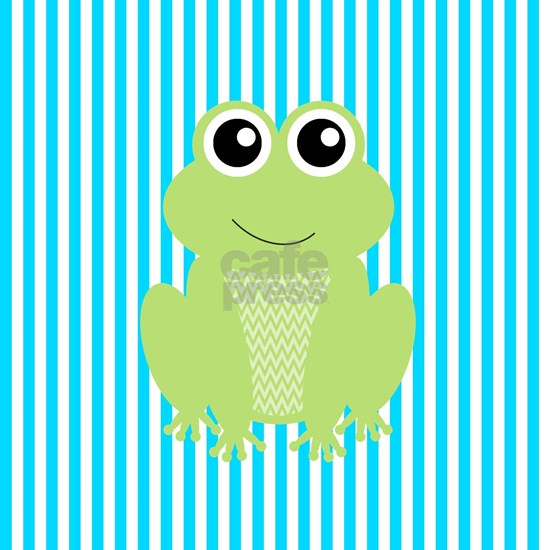 Cute Frog on Teal Stripes
