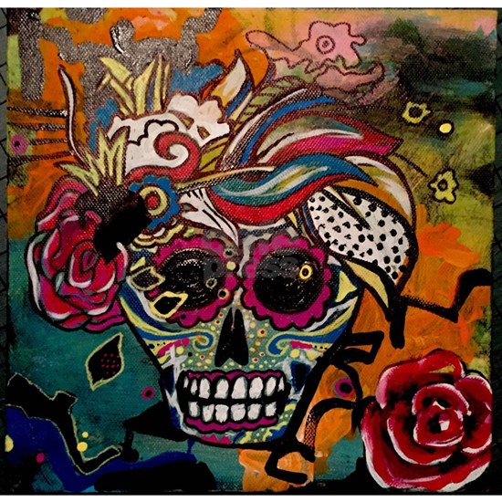 Sugar Skull Day of the Dead Artsy Original Art by