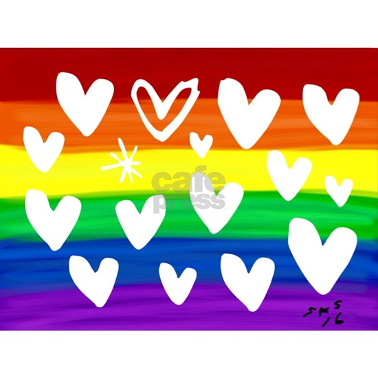 Hearts rainbow art