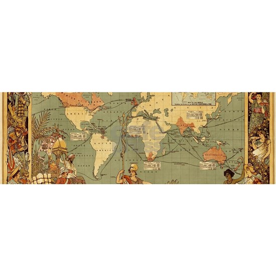 Antique World Map Vintage Earth Travel Continent