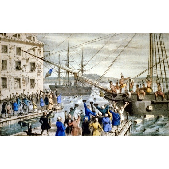 Destruction of tea at Boston Harbor - 1846