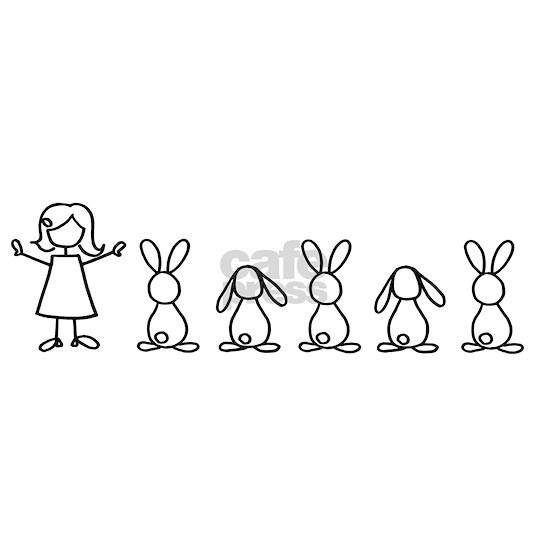 5 bunnies family sticker (crazy bunny lady edition