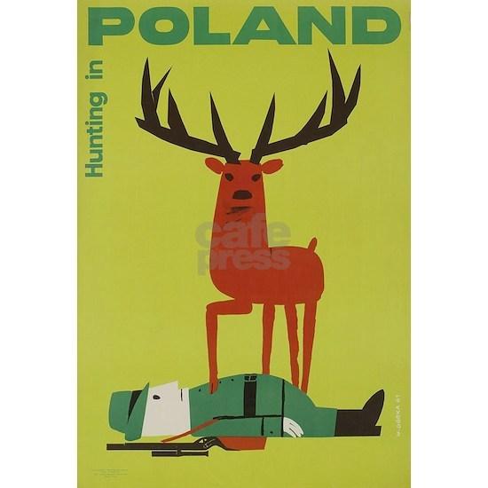 Polska Polish Poland Vintage Anti Hunting Poster
