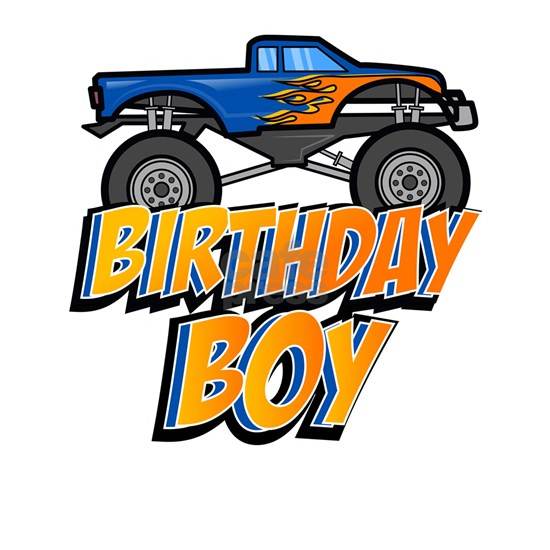 Kids Birthday Boy Monster Truck Crushing