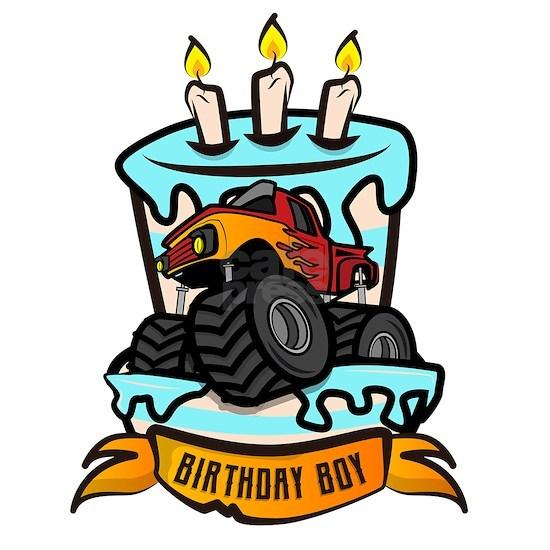 Kids Birthday Boy Monster Truck Crushing Cake