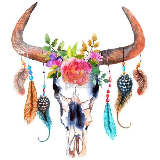 Colorful Bull Horns & Skull Flowers & Feathers