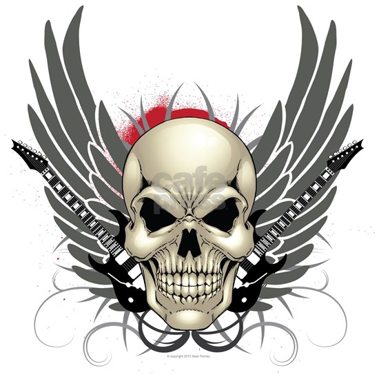 Skull, guitars, and wings