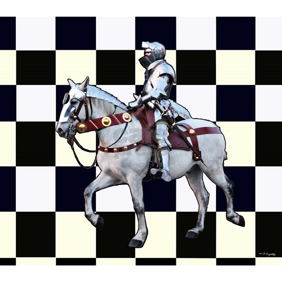 Knight on horseback with Chess board