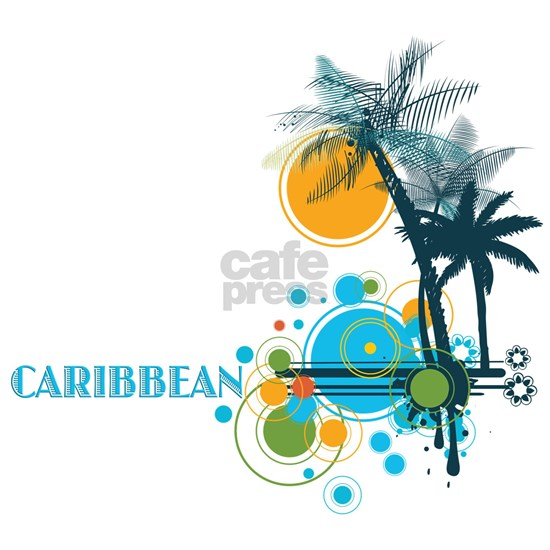 Palm Trees Sun and Circles CARIBBEAN