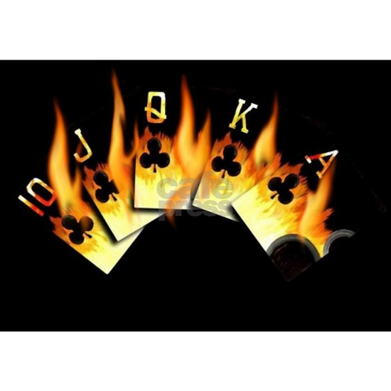 Hot Flaming Royal Flush of Clubs Poker Art by Teo