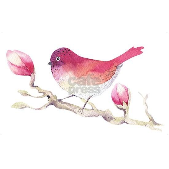 Pink Sparrow Bird on Magnolia Flower Branch